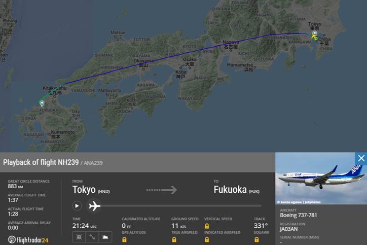選択した飛行記録の飛行経路全体