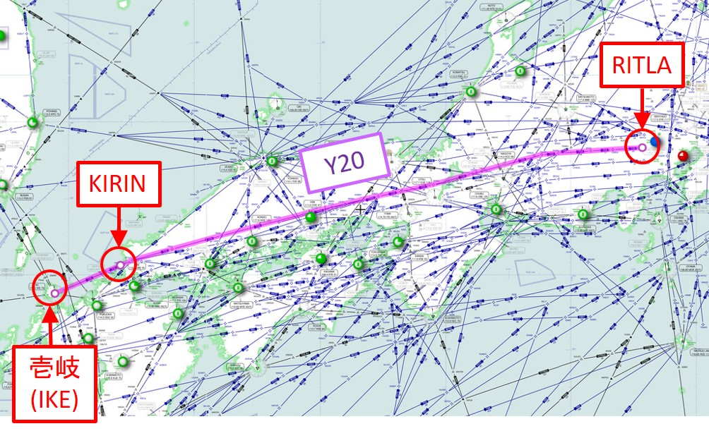 Y20の飛行経路