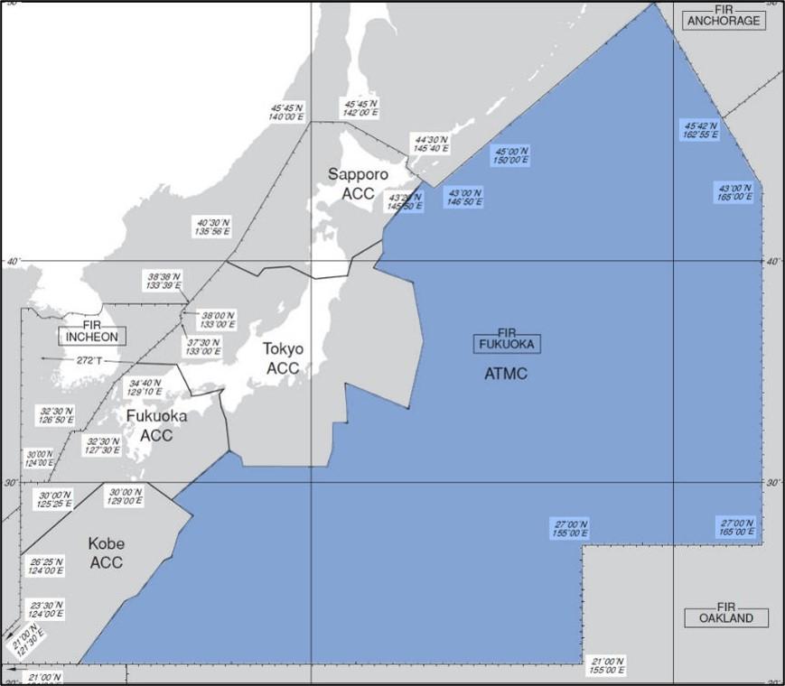 洋上管制が行われるエリアの範囲
