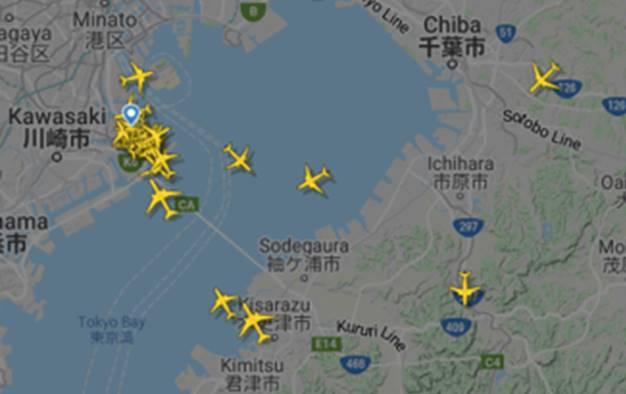羽田空港を離着陸する飛行機の様子