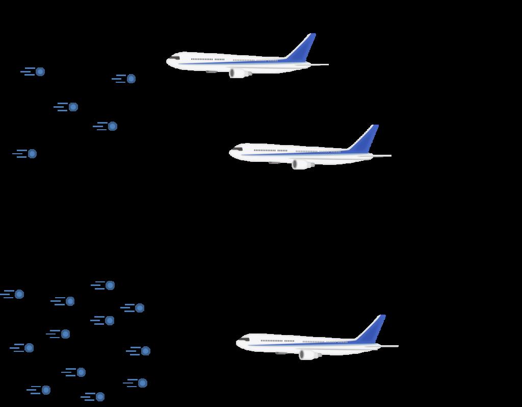 空気密度の違いによる速度の違いのイメージ