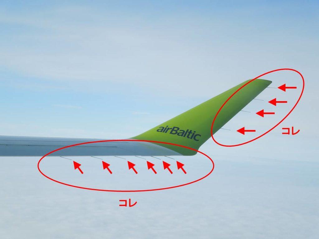 翼の先端の突起物の画像