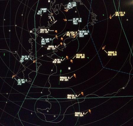 実際のレーダー画面の例