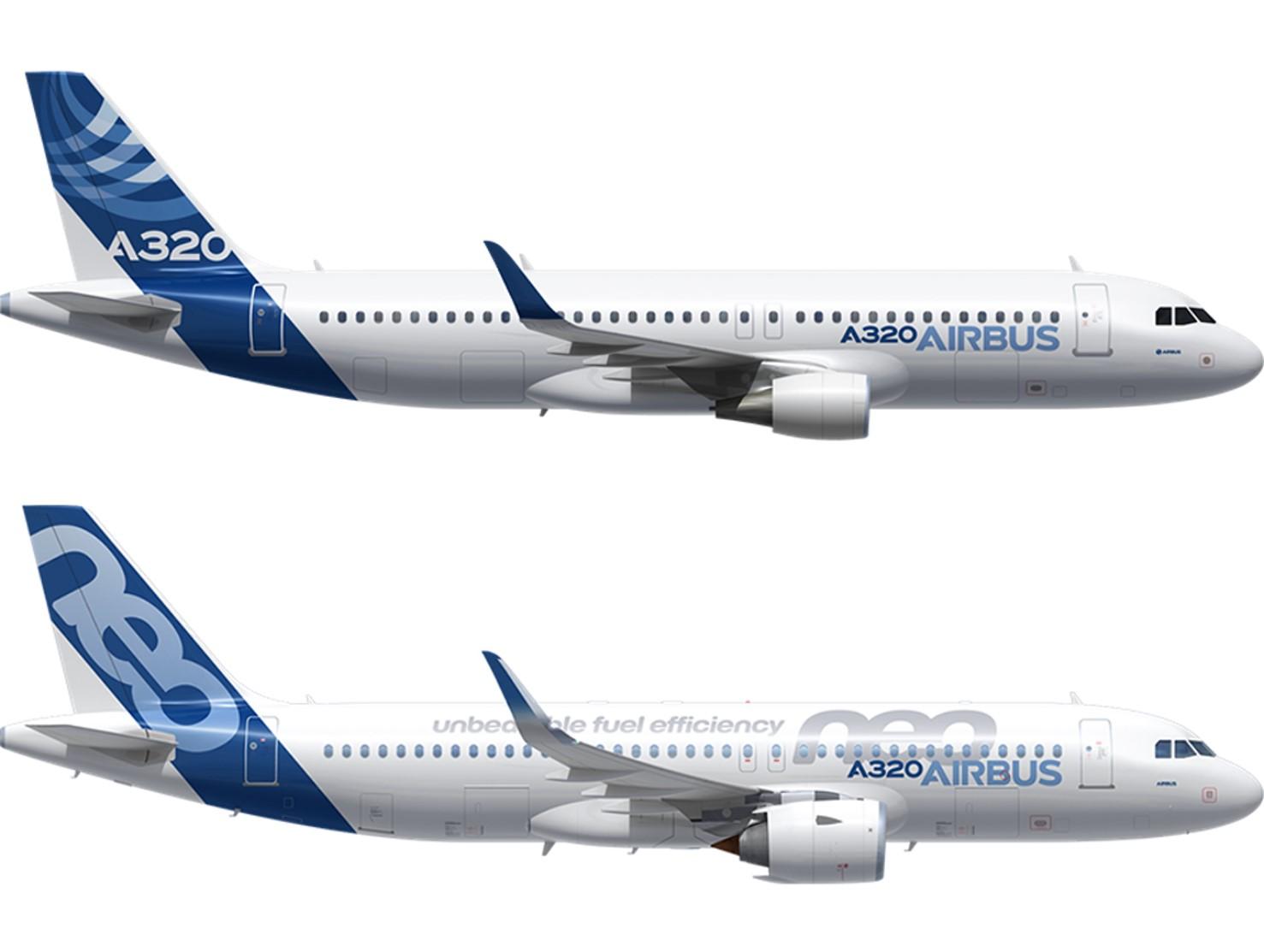 A320CEOとNEOの比較画像