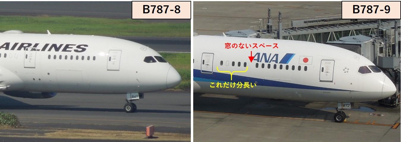 B787-8と-9の窓数の違い