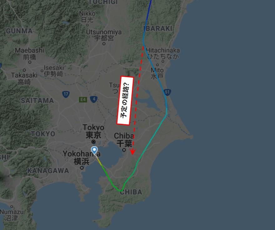 ANA788便の実際の飛行記録拡大