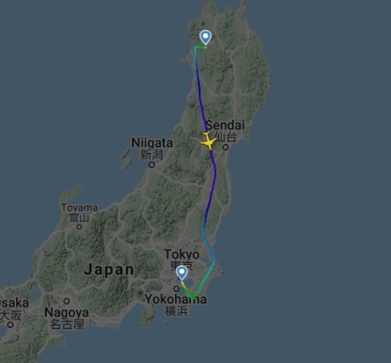 ANA788便の実際の飛行経路記録