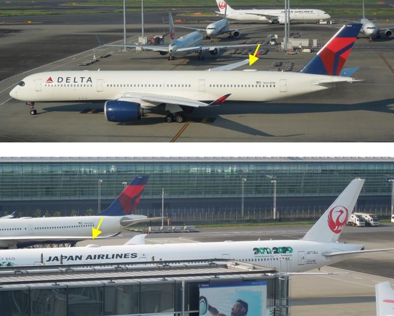 A350とB777のWiFiアンテナ