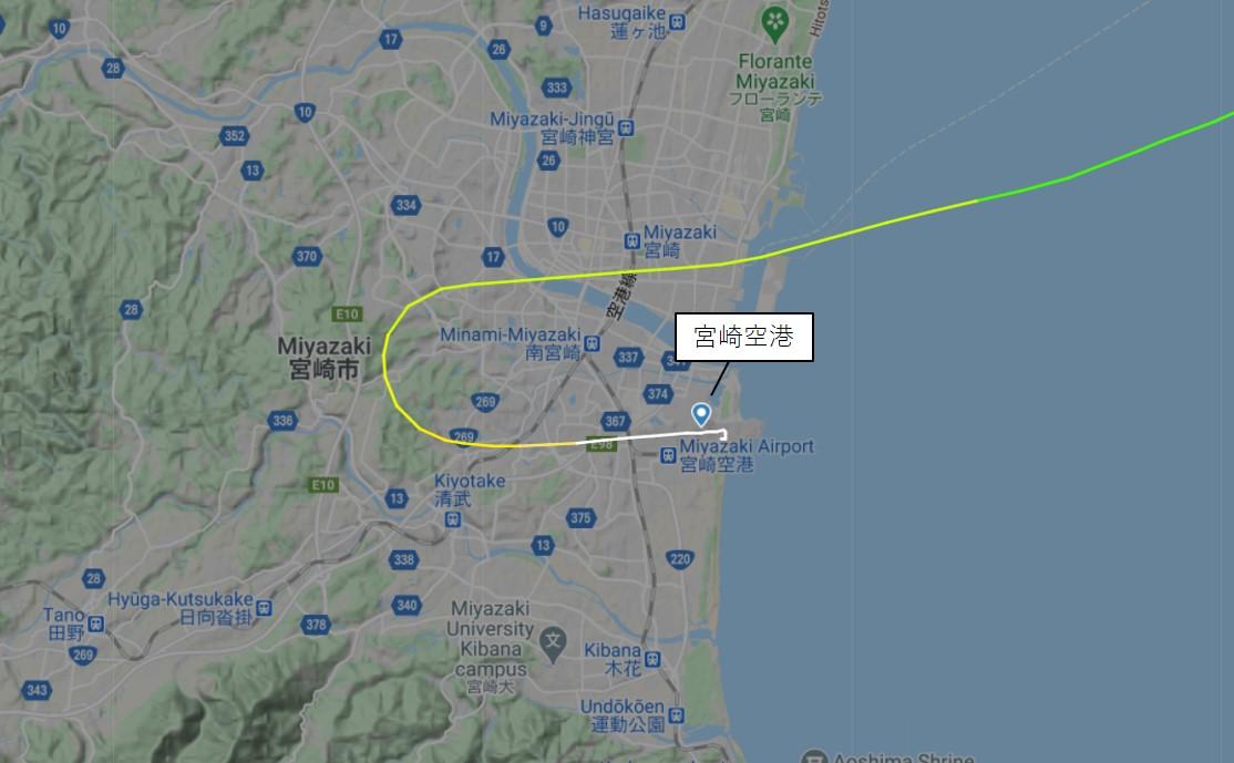宮崎空港のVisual Approachの例