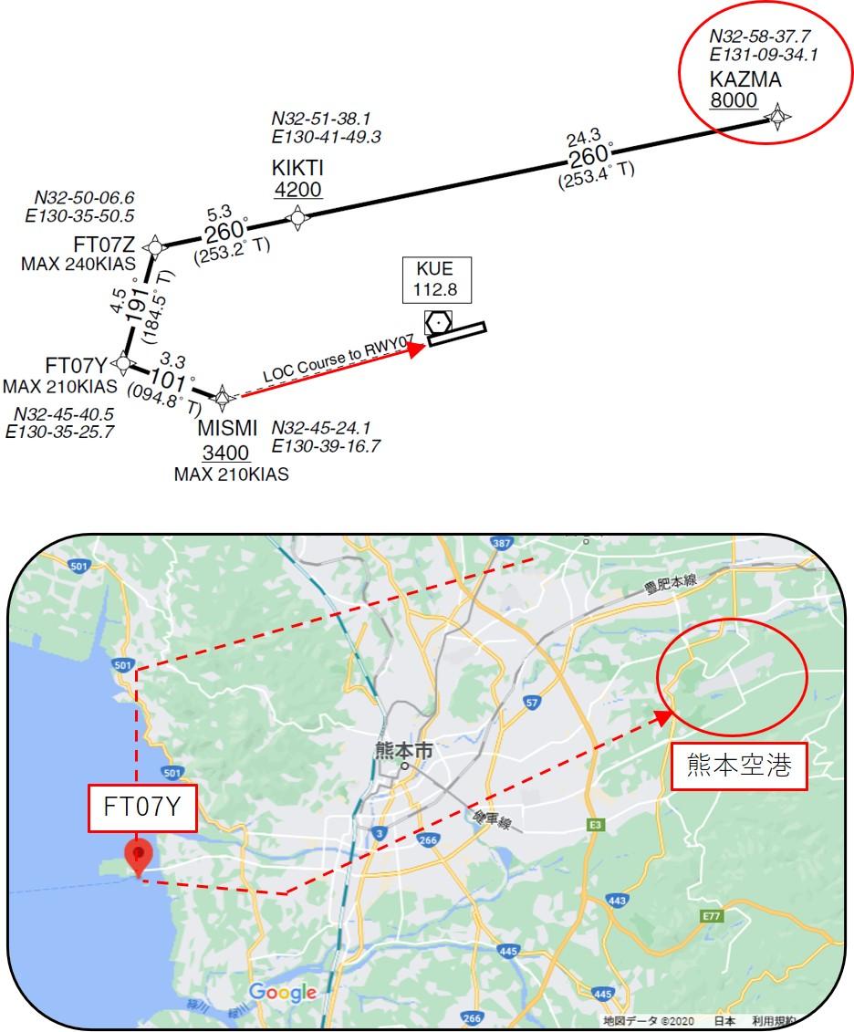 熊本空港への着陸経路
