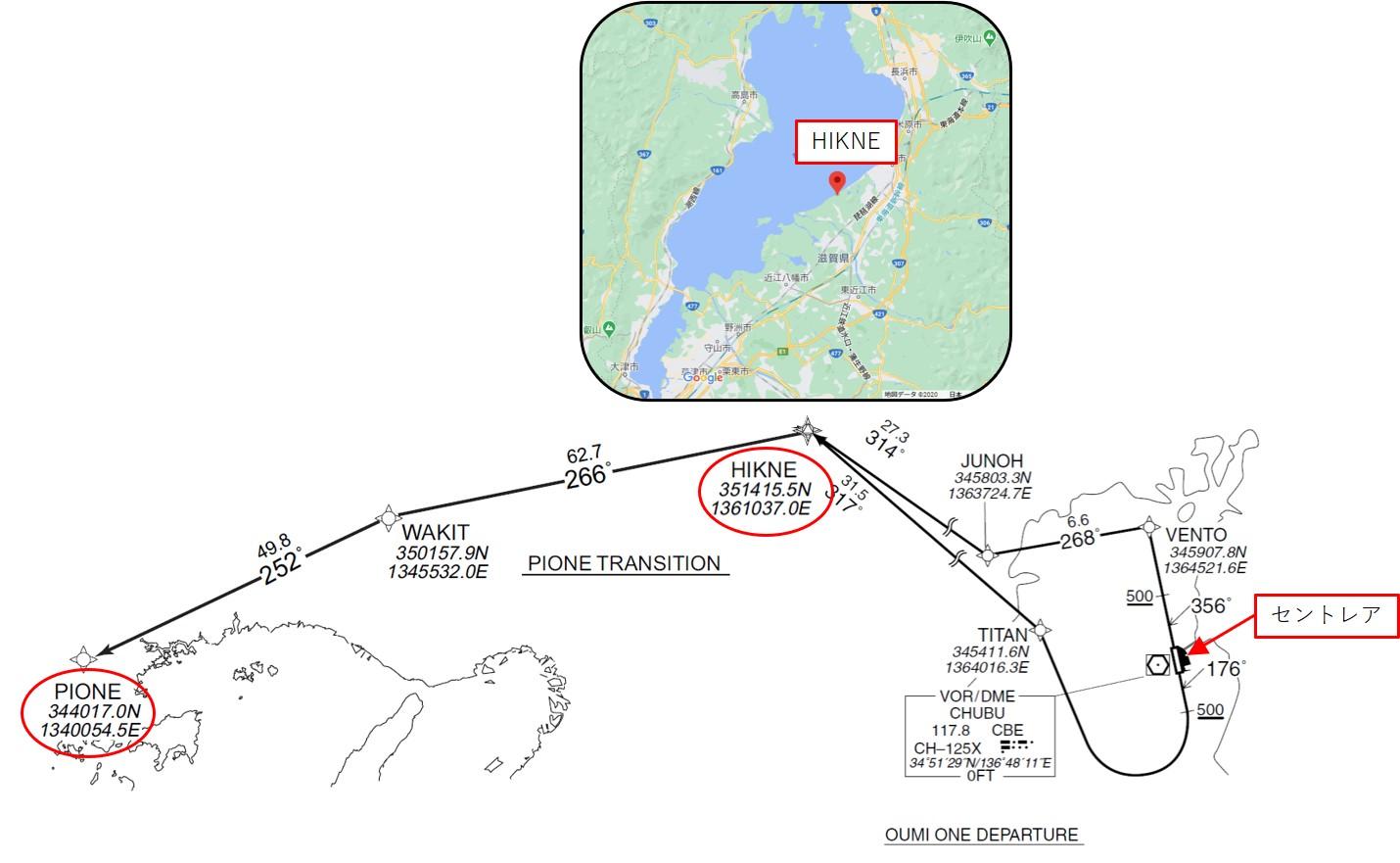 出発からPIONEまでの経路図