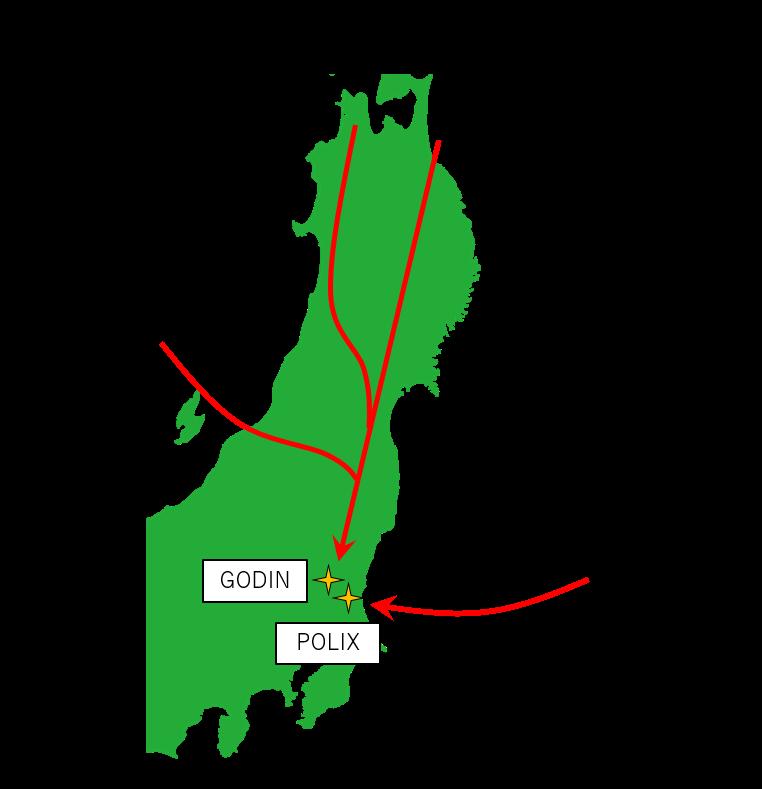 北側からの到着経路と出発地のイメージ