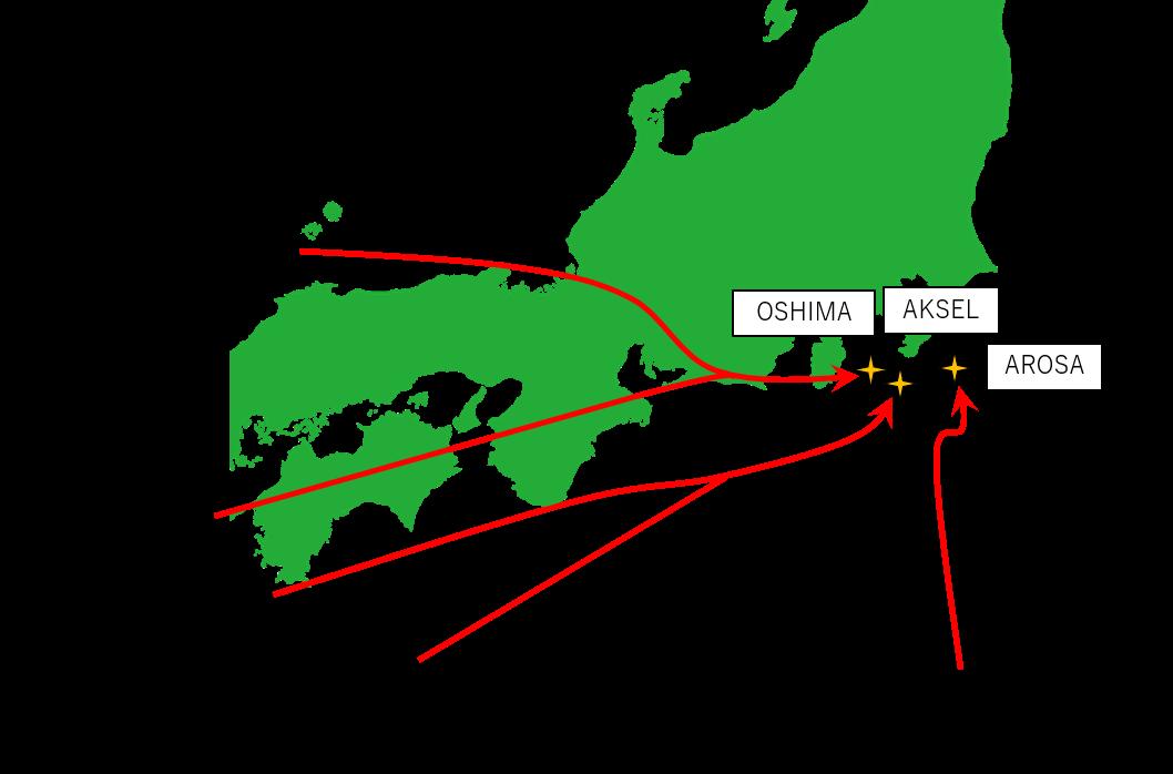 南西側からの到着経路と出発地のイメージ