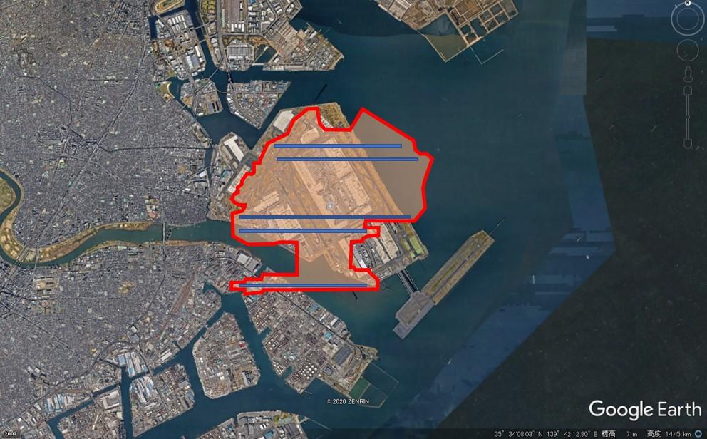 ハーツフィールドジャクソン・アトランタ空港の敷地面積の図