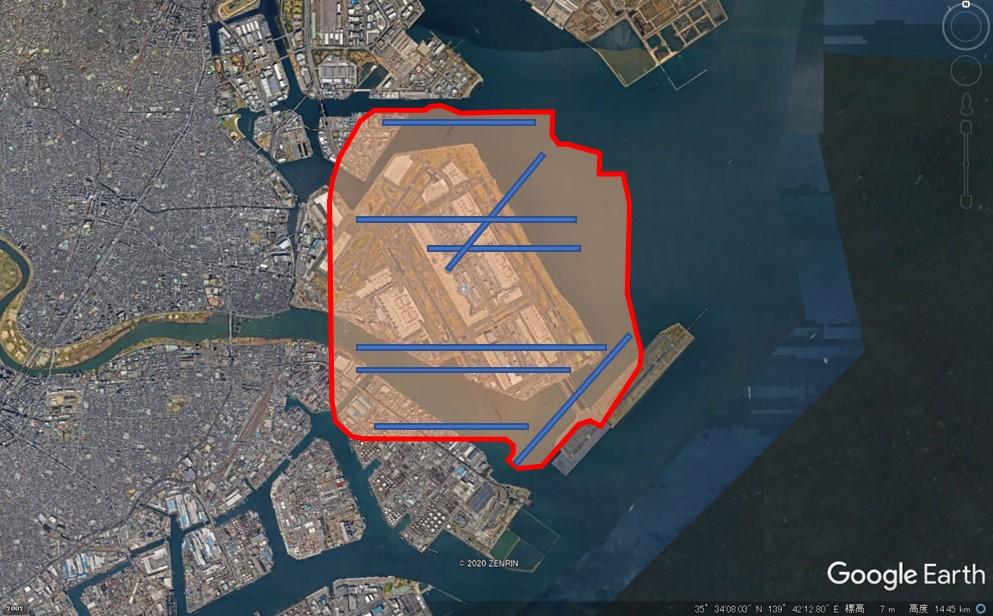 シカゴ・オヘア空港の敷地面積の図