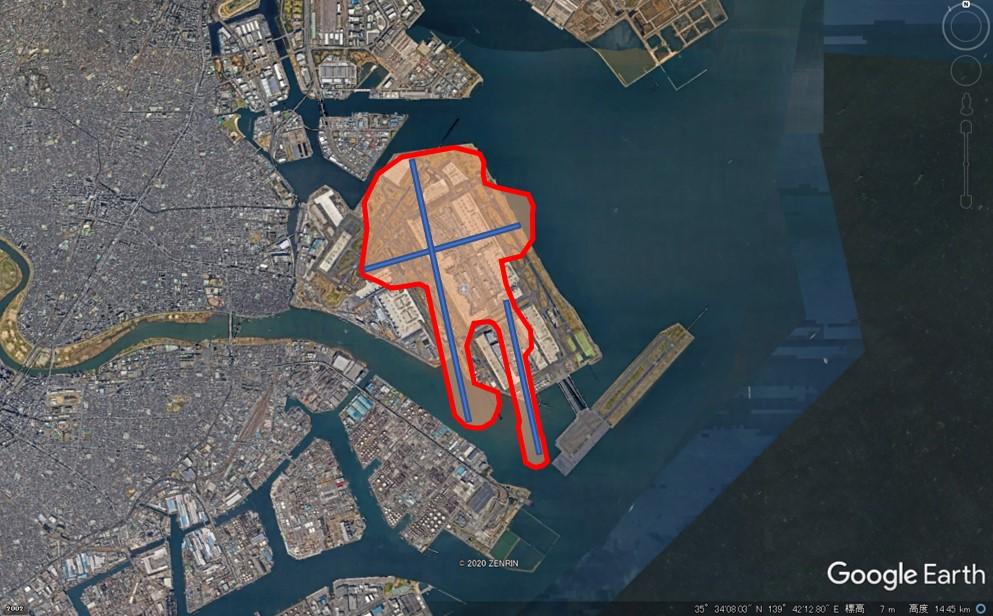 シドニー国際空港の敷地面積の図