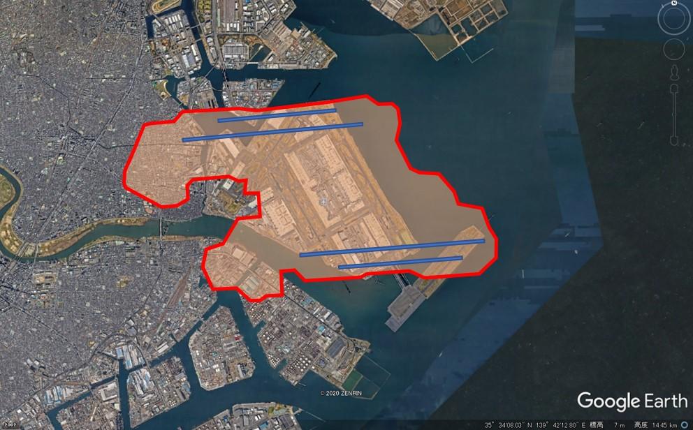 シャルル・ド・ゴール空港の敷地面積の図