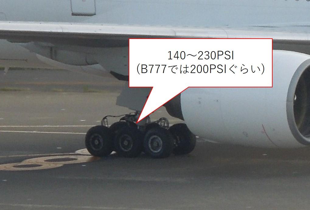 B777のタイヤとタイヤ圧
