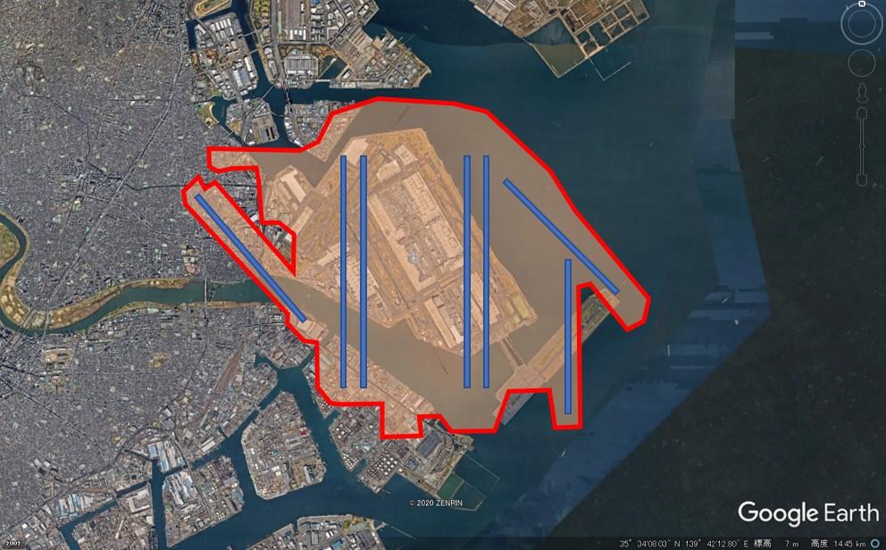 ダラス・フォートワース空港の敷地面積の図