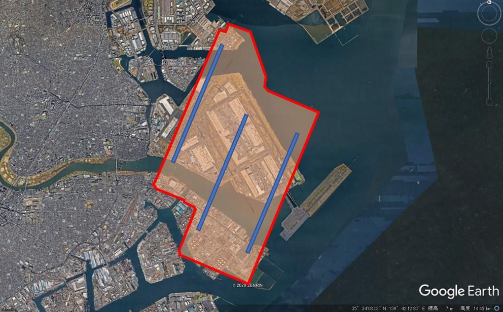 チャンギ空港の敷地面積の図