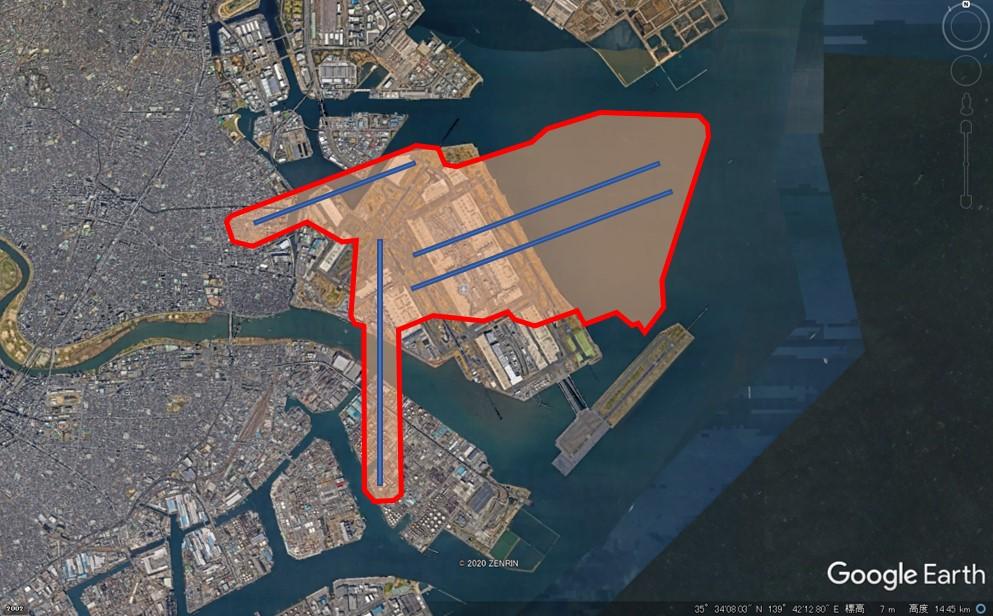 フランクフルト空港の敷地面積の図