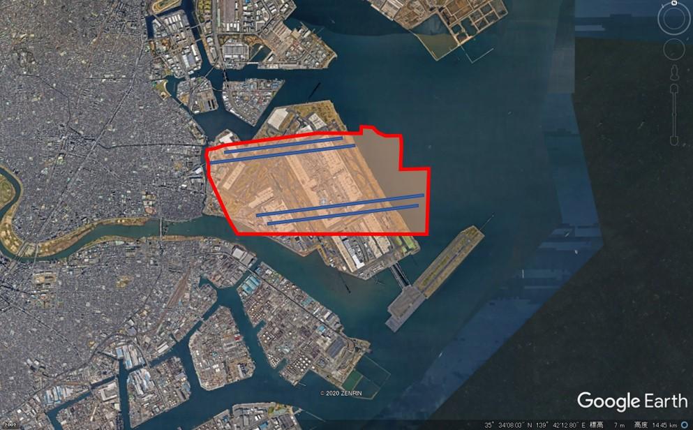 ロサンゼルス国際空港の敷地面積の図