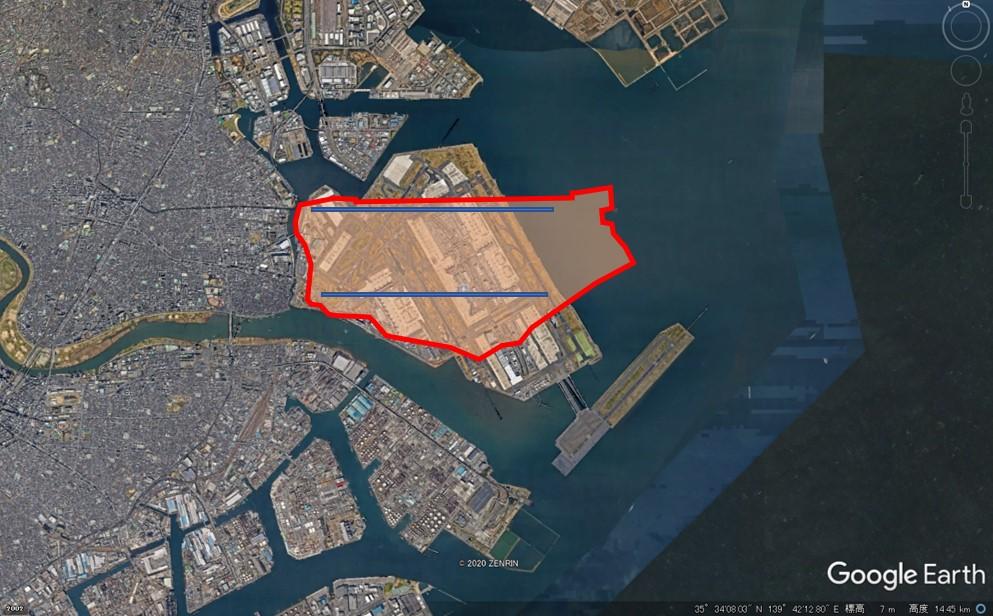 ヒースロー空港の敷地面積の図