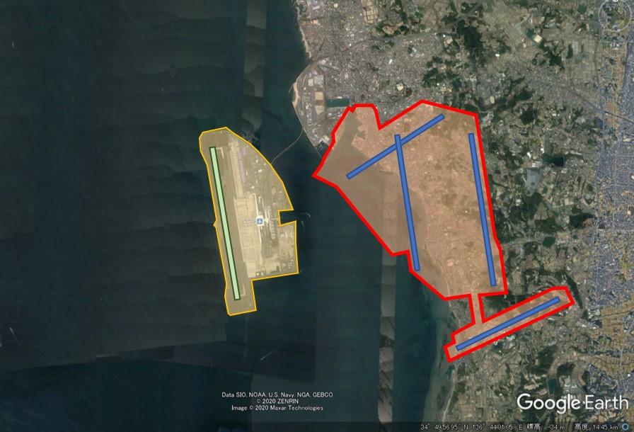 中部国際空港と羽田空港の敷地面積比較の図