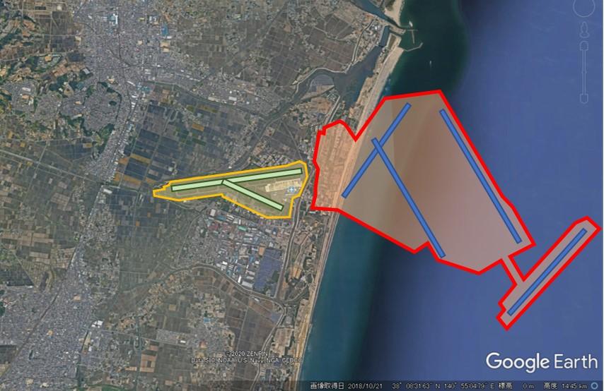 仙台空港と羽田空港の敷地面積比較の図