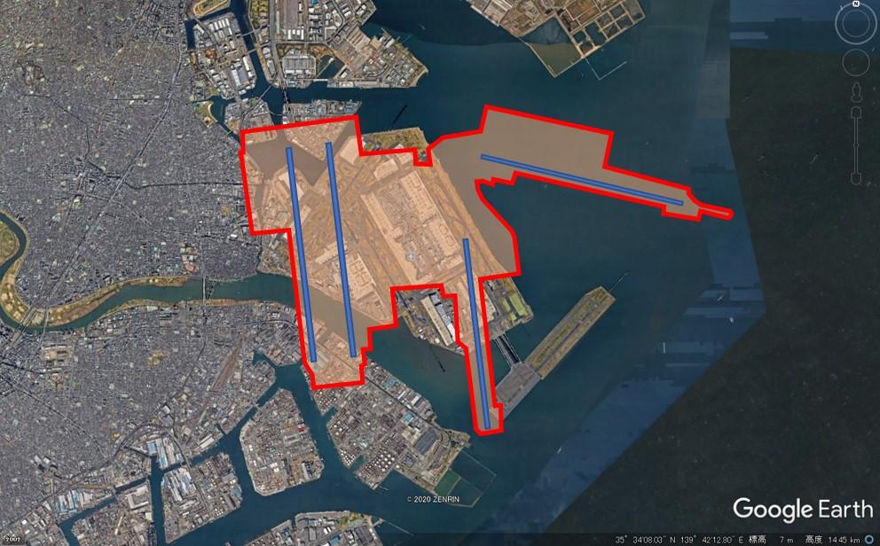 北京大興国際空港の敷地面積の図