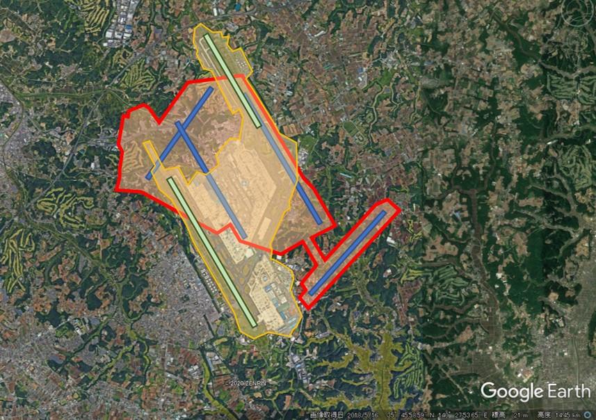 成田空港と羽田空港の敷地面積比較の図(重ね合わせ)