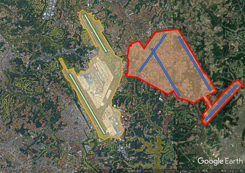 成田空港と羽田空港の敷地面積比較の図