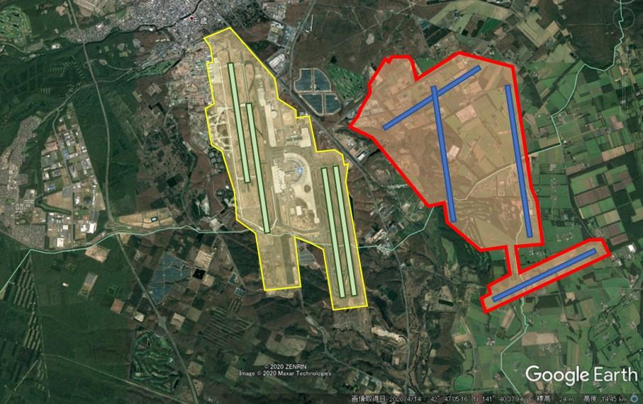 新千歳空港と羽田空港の敷地面積比較の図