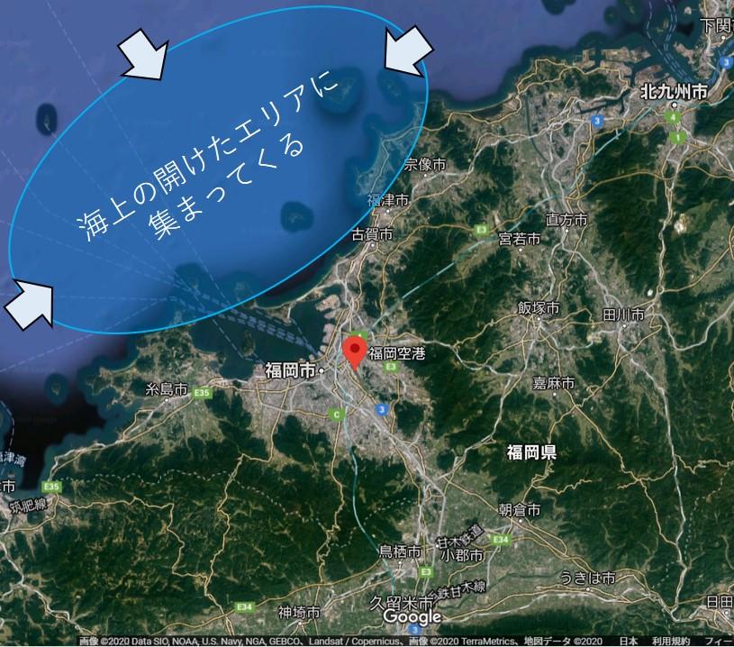 空港北側の海上エリアに飛行機が集まるイメージの図