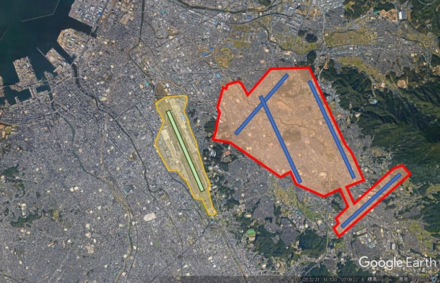 福岡空港と羽田空港の敷地面積比較の図