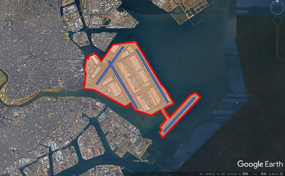 羽田空港の敷地面積の図