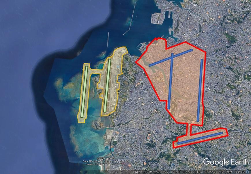 那覇空港と羽田空港の敷地面積比較の図