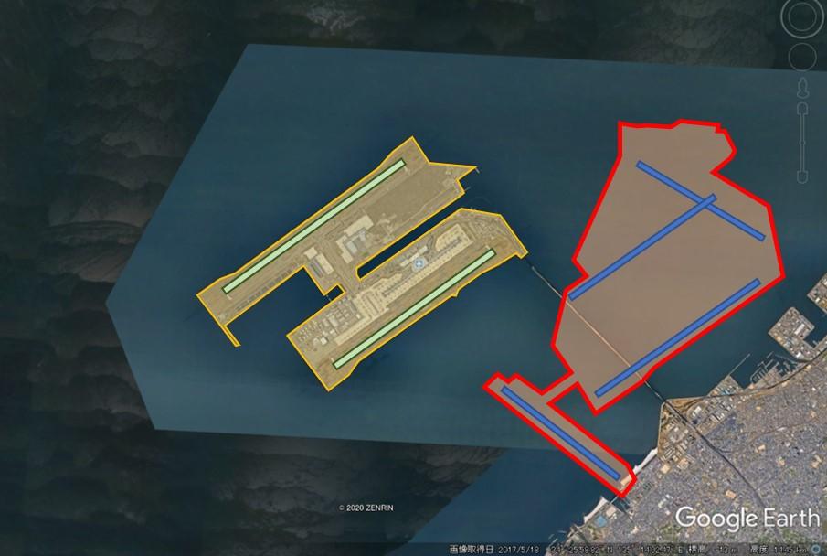 関西国際空港と羽田空港の敷地面積比較の図