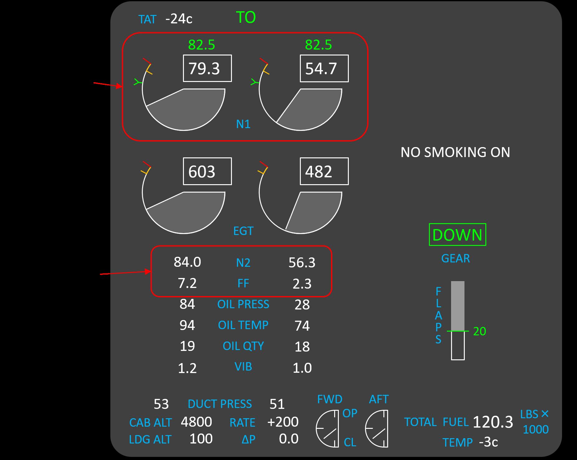 コックピットのエンジン計器表示のイメージ