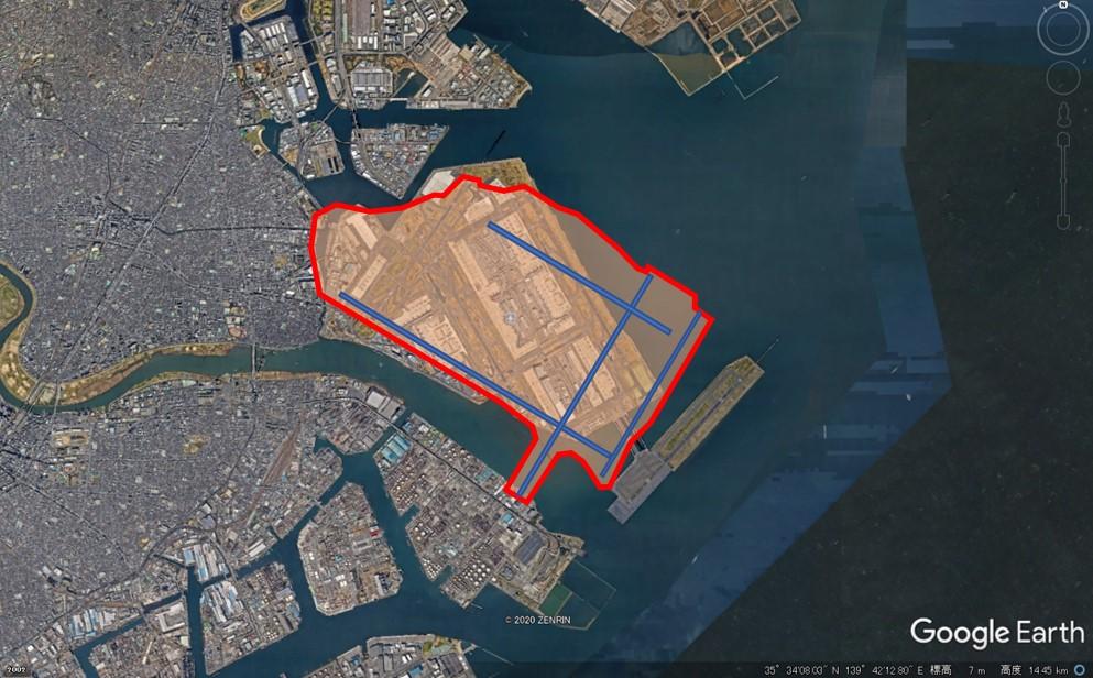 ジョン・F・ケネディー空港の敷地面積の図