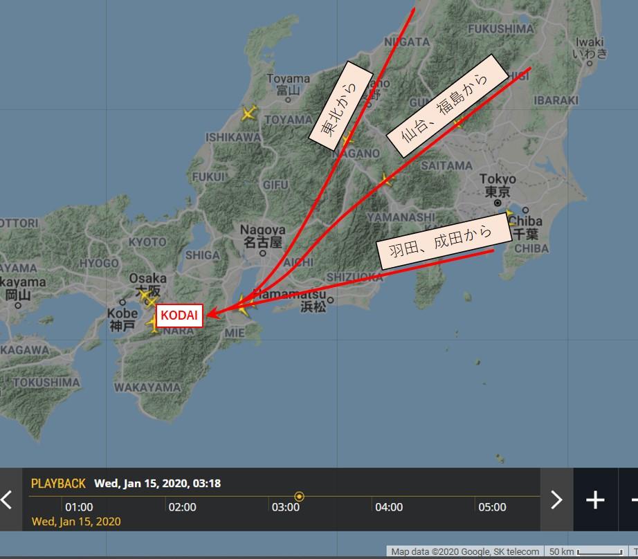 KODAI経由の到着経路の図
