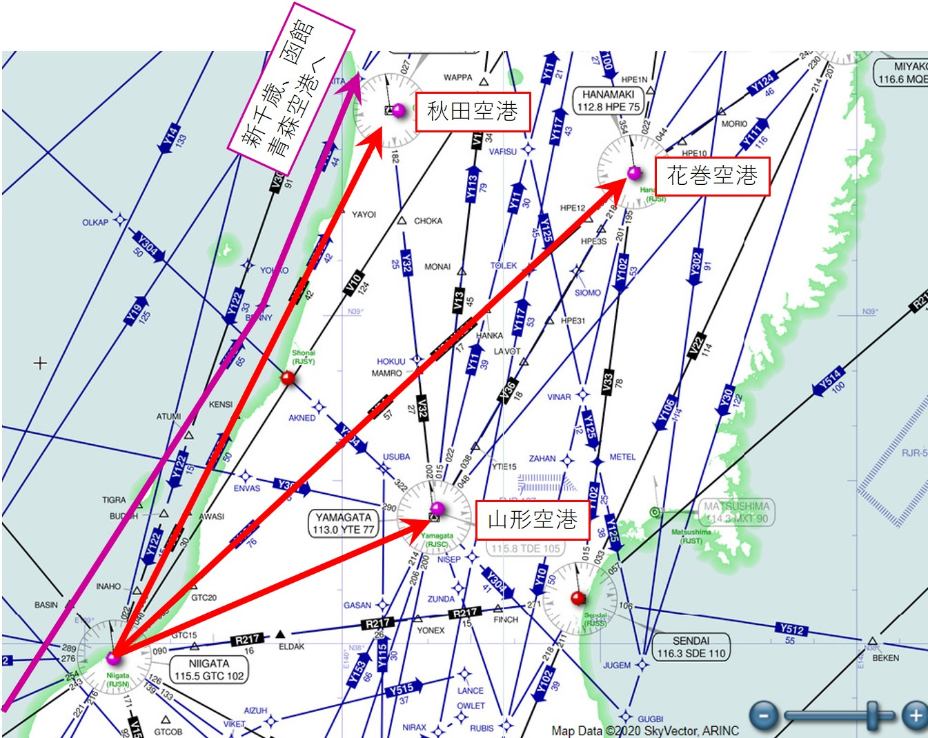 GUJYO・NAGOYA以降の飛行経路の続き