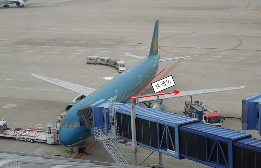 後退角を持つ飛行機の画像